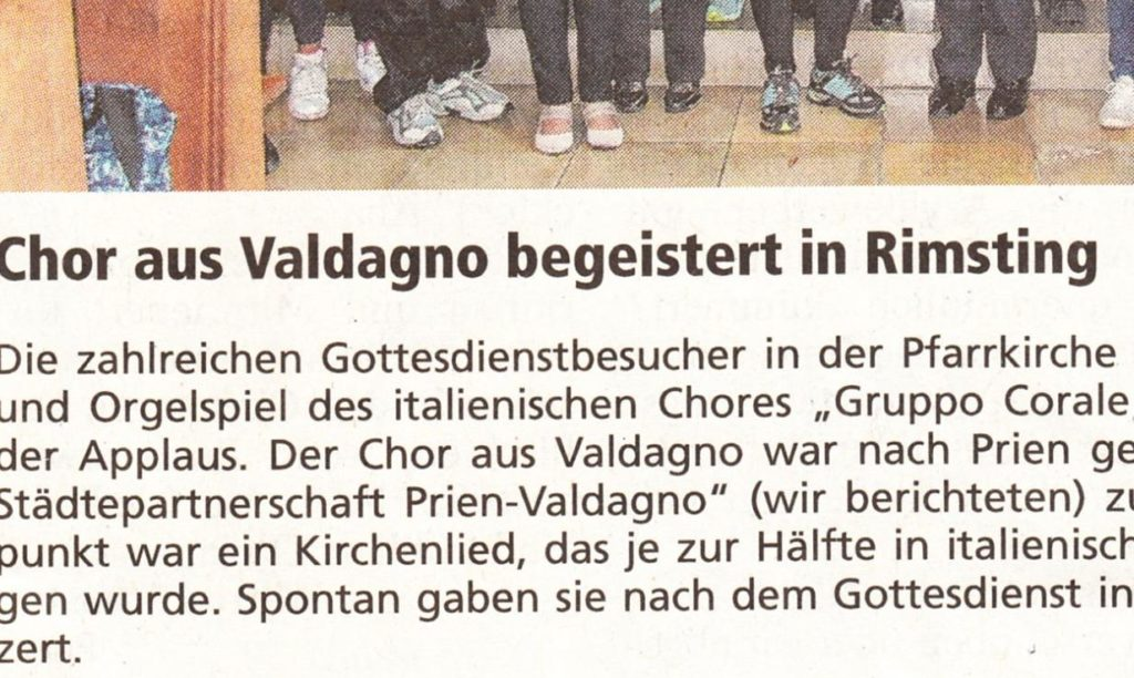 Maggio 2017 articolo apparso ieri sul giornale Chiemgau-Zeitung