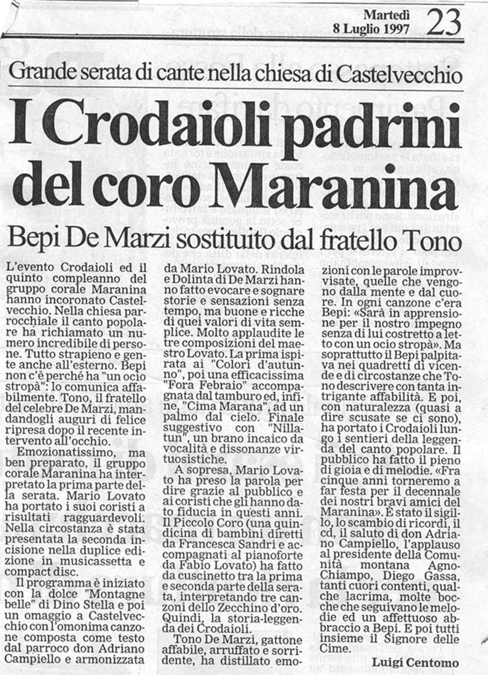 8 luglio 2007 stampa gruppo corale maranina